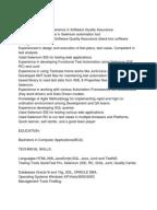 Selenium Resume sample software testing fresher resume Selenium Resume Sample 1