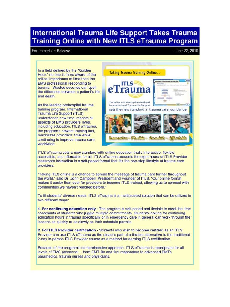 Itls Etrauma Emergency Medical Services Emergency Medical Technician