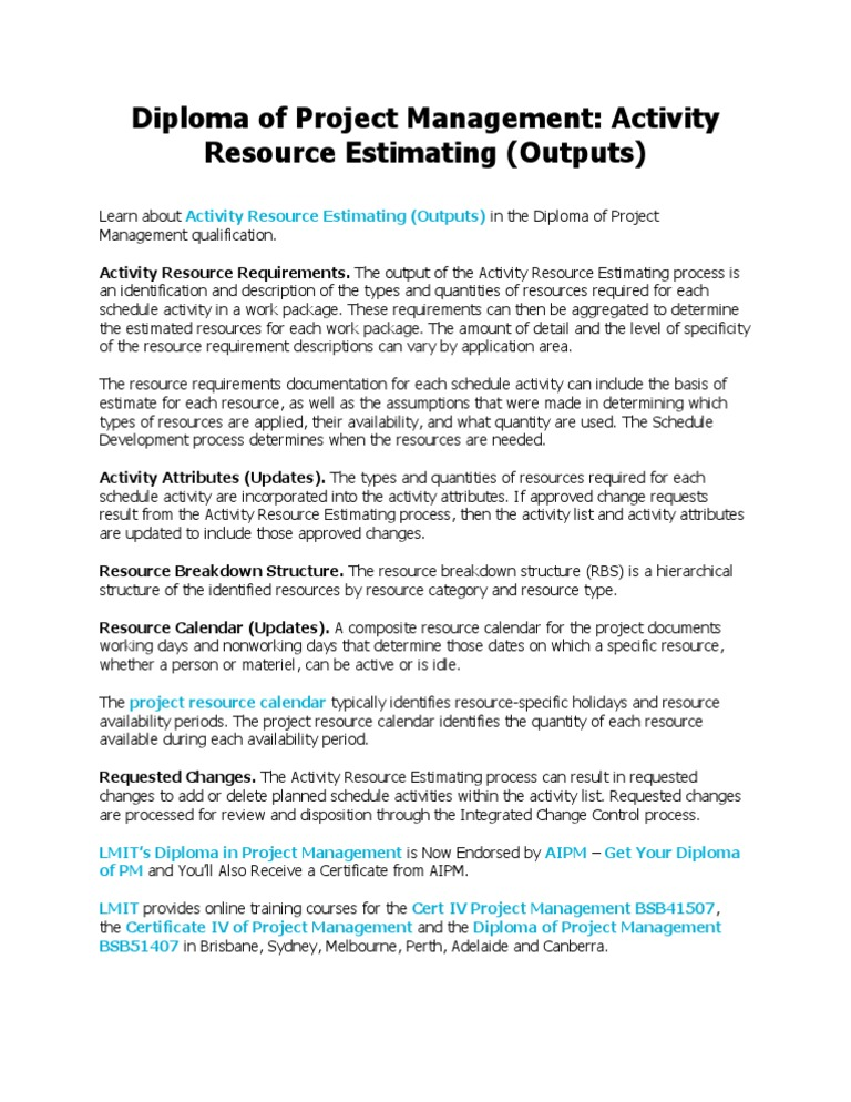 Diploma Of Project Management Activity Resource Estimating
