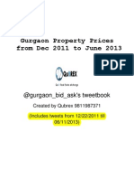 Gurgaon Property Prices From Dec 2011 to June 2013 - Gurgaon_Bid-Ask Twitter Timeline by Qubrex