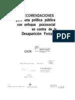 Recomendaciones Politica Publica Con Enfoque Psicosocial Contra Desaparicion Forzada