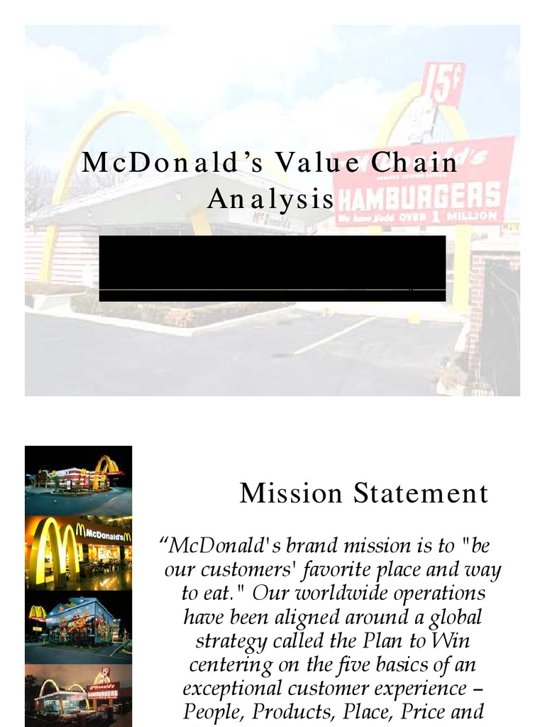 a value chain analysis of mcdonalds Value chain analysis of mcdonalds: value chain analysis emphasis on the activities which are used to offer a customer level of value that exceeds the cost incurred.