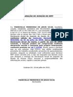 DECLARAÇÃO DE ISENÇÃO IRPF FRANCIELLE