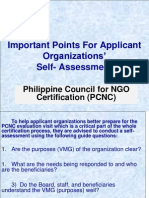 Important Points for Assessment of NGOs
