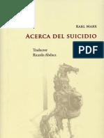 Acerca Del Suicidio, Marx K.