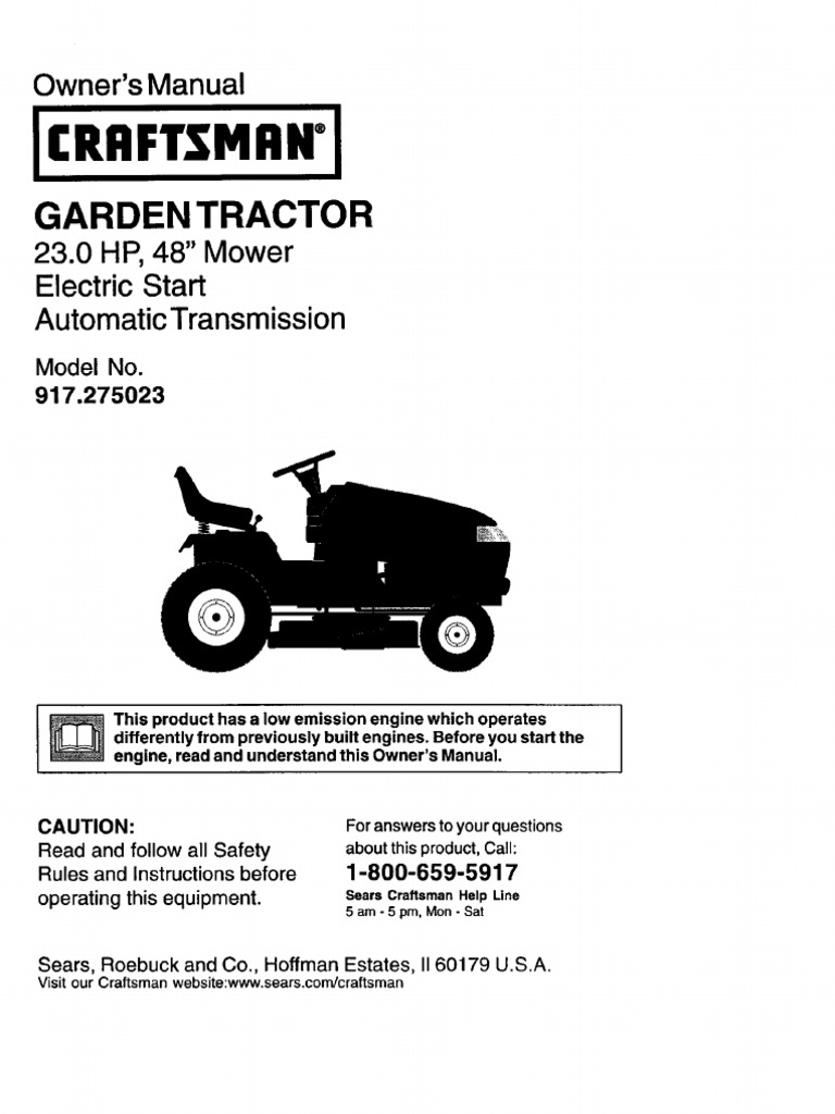 Craftsman GT3000 Owners Manual | Tractor | Manual Transmission