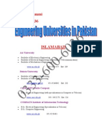 Eng Universities lists in Pakistan