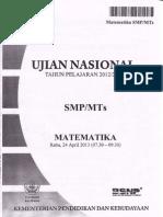UN Matematika SMP 2013
