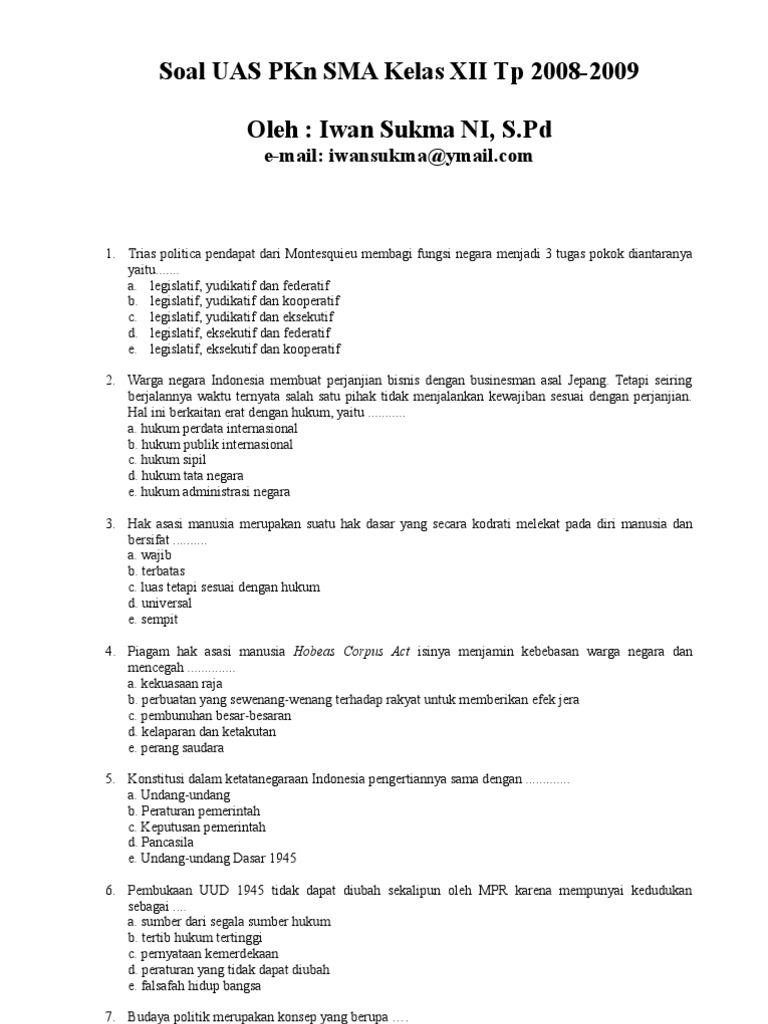 Soal Uas Pkn Kelas 12 Semester 2 Dan Kunci Jawaban Guru Galeri