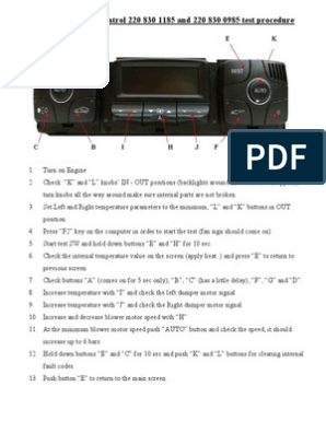 Mercedes Benz W220 Climate Control Panel Reset
