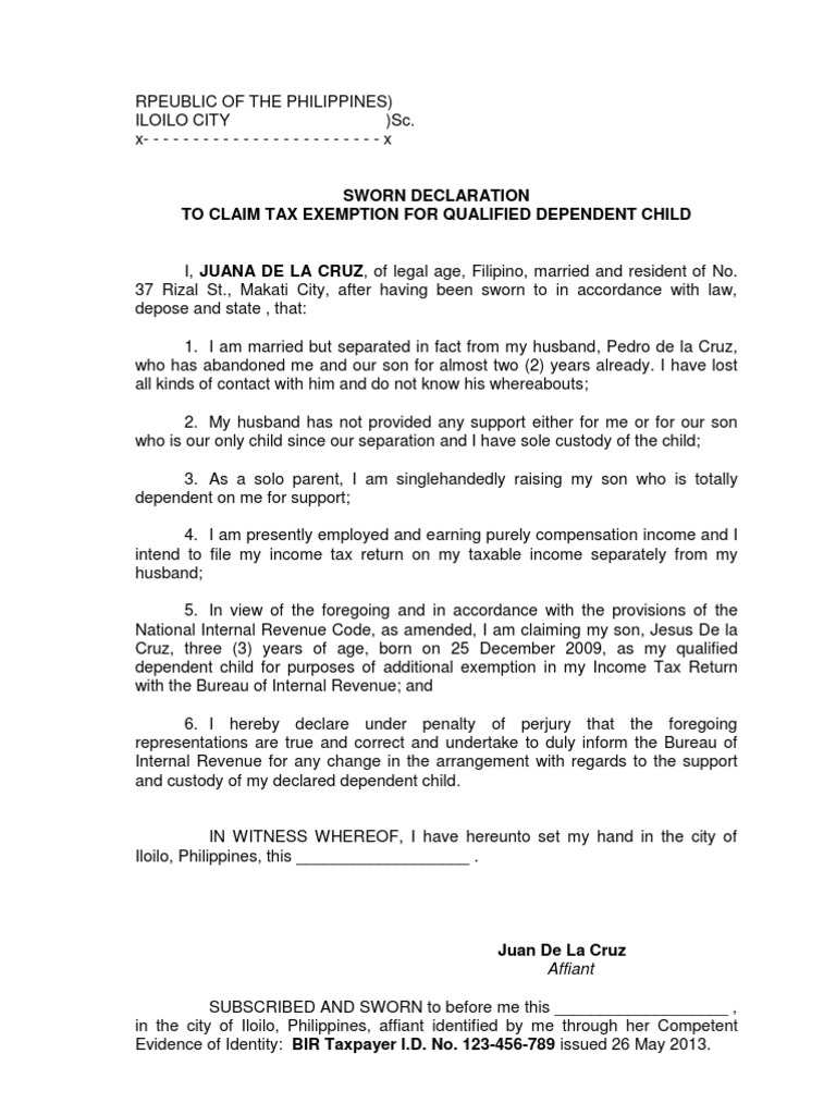 Affidavit To Claim Tax Exemption For Dependent Child  Bir Exemption For  Dependent Child  Bir