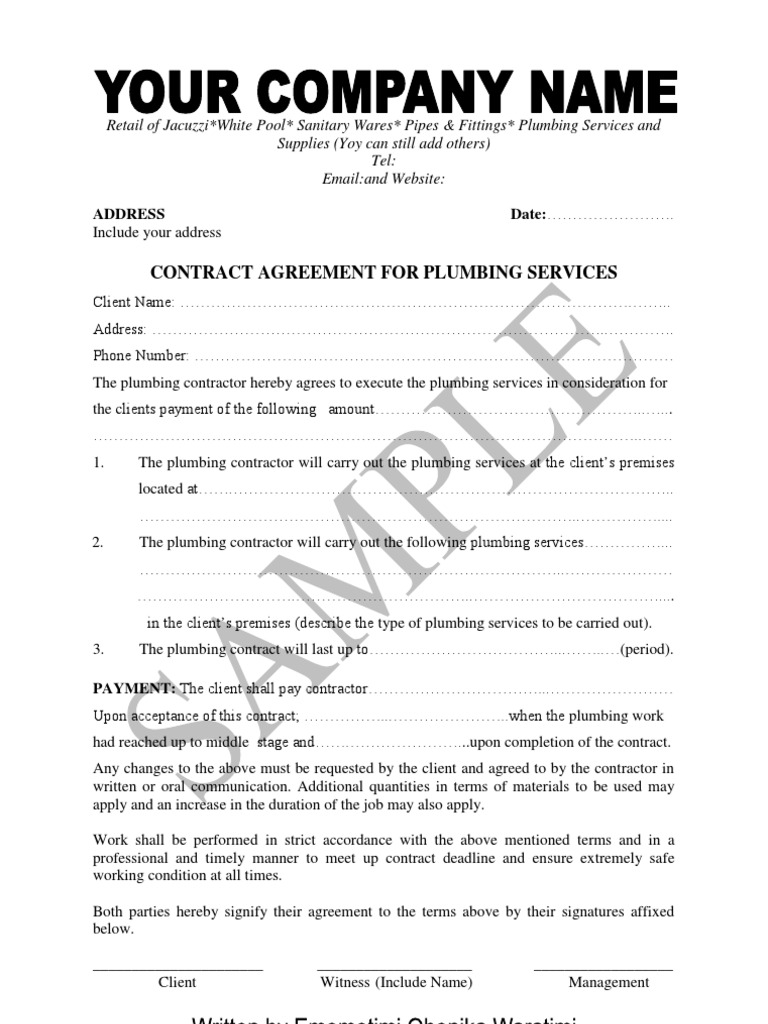 Sample Of Plumbing Contract And Material Supply Agreementpdf