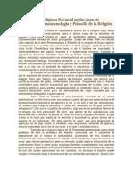 Justificación Religiosa Racional según Juan de Sahagún y su Fenomenología y Filosofía de la Religión