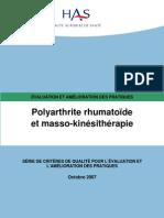Criteres Qualite Polyarthrite Rhumatoide Masso Kinesitherapie