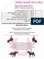 Clinic Entry Form for the Thoroughbred Jubilee Benefit Horse Show. This entry form is for Saturday's Riding Education Day Clinics.