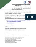 CUATRO TRABAJOS DE ICIULS  PRESELECCIONADOS PARA CLEIN PERÚ 2013