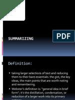 Summarizing your Work