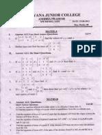 Narayana Junior College. Jr AIEEE & EAMCET IC. CDF Model Test.