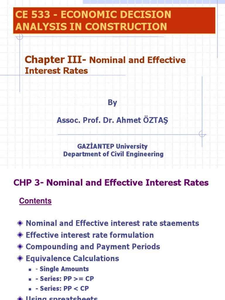 Ce533 Chp3 Nominal Rate Ppt Nominal Interest Rate Compound
