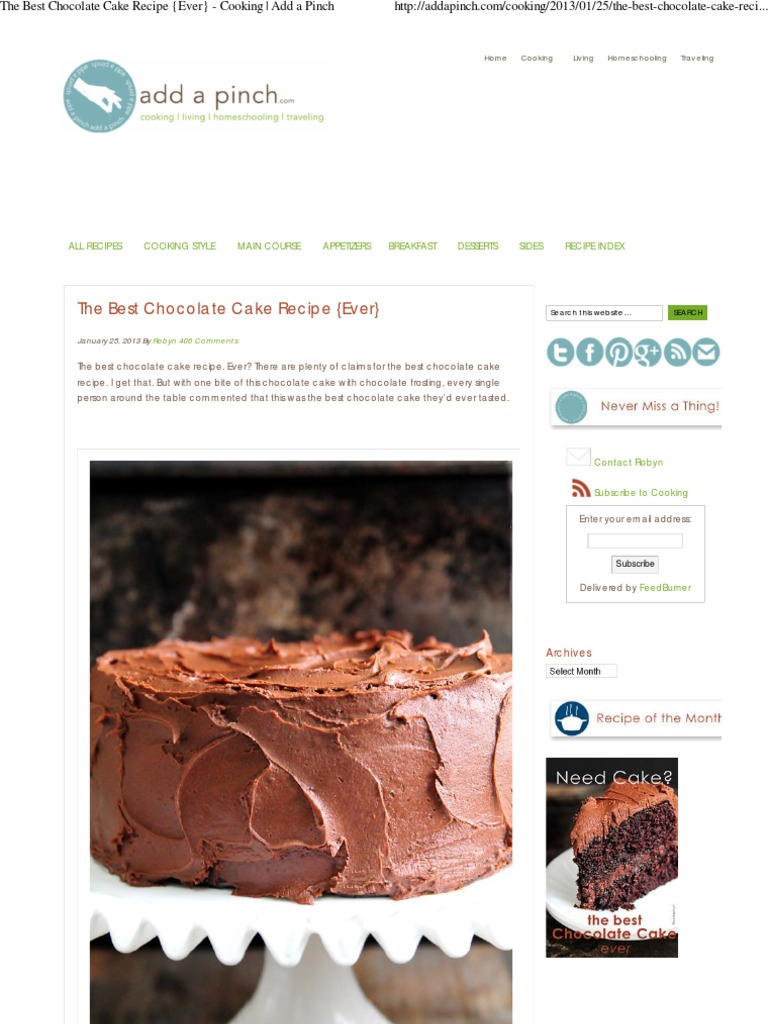 The Best Chocolate Cake Recipe {Ever} - Cooking _ Add a ...
