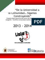 Proyecto Centro de Estudiantes Geografía PUCV 2013-2014 FINAL