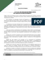 18/12/12 Germán Tenorio Vasconcelos OAXACA CON 79.38% DE ANÁLISIS BACTERIOLÓGICO EN FUENTES DE ABASTECIMIENTO