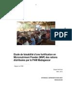 Etude de faisabilité d'une fortification en Micronutriment Powder des rations distribuées par PAM - Mars 2012