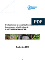 Evaluation de la securité alimentaire pour les beneficiaires de PARECAM/Madagascar - Septembre 2011