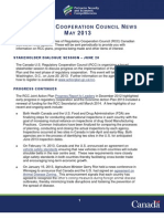 Regulatory Cooperation Council (RCC) News - May 2013