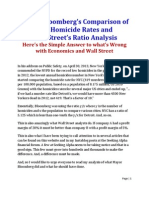Mayor Bloomberg's Comparison of NYC Homicide Rates and Wall Street Ratio Analysis