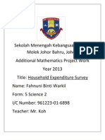 Additional Mathematics project work 2013 for Johor
