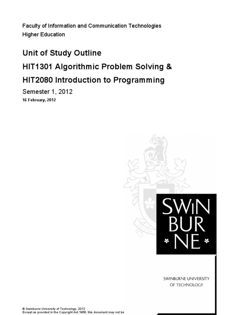algorithmic problem solving swinburne