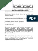 Discurso en ocasión al reconocimiento otorgado por la FAO a la República Dominicana