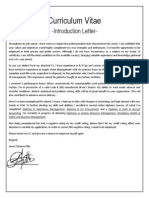 CV Introduction Letter