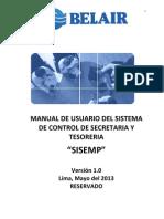Manual de Usuario Del Sistema de Control de Secretaria y Tesoreria
