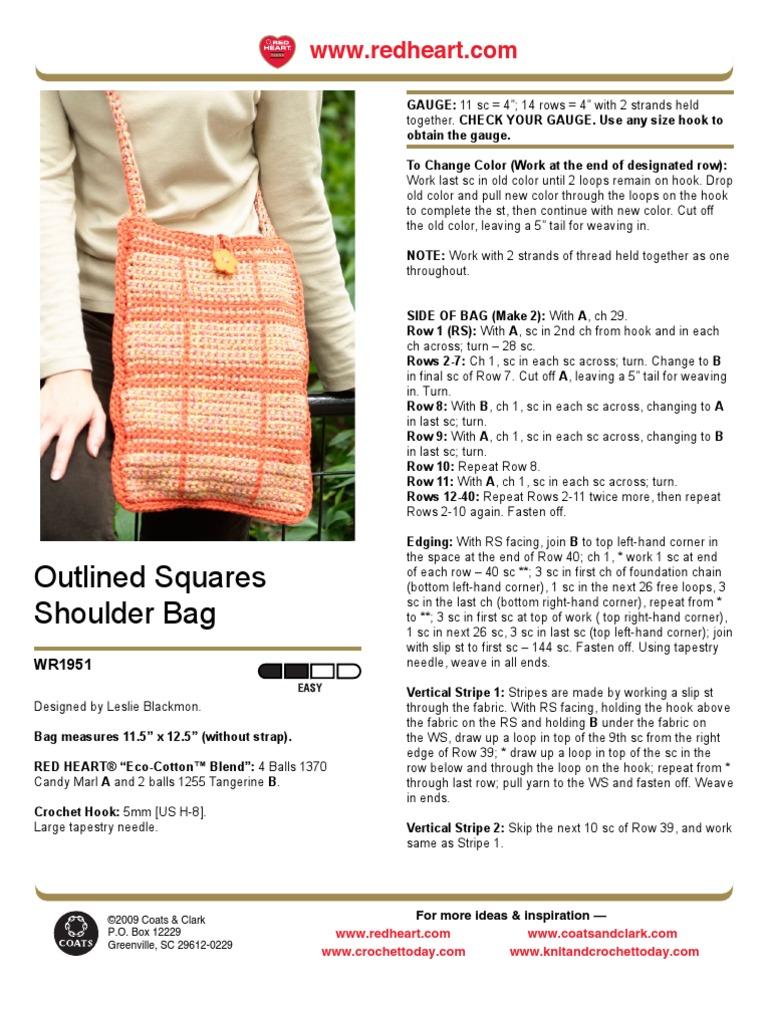 CROCHET - Leslie Blackmon - Outlined Squares Shoulder Bag | Crochet ...