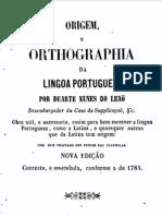 Origem e Orthographia da língua portuguesa, por Duarte Nunes de Leão