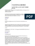 LEY 26.657 Salud Mental - Decreto Reglamentario 603 - 2013