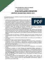 Postgrado RM 2012 Requisitos e Inscripcion