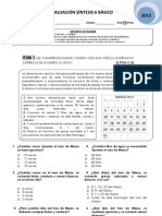 Evaluación Síntesis 6 básico 2013 MESV Permanentes