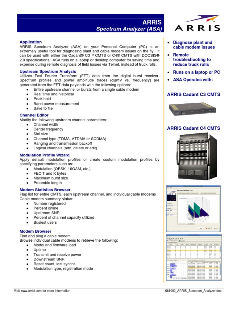 ARRIS Spectrum Analyzer | Modem | Personal Computers