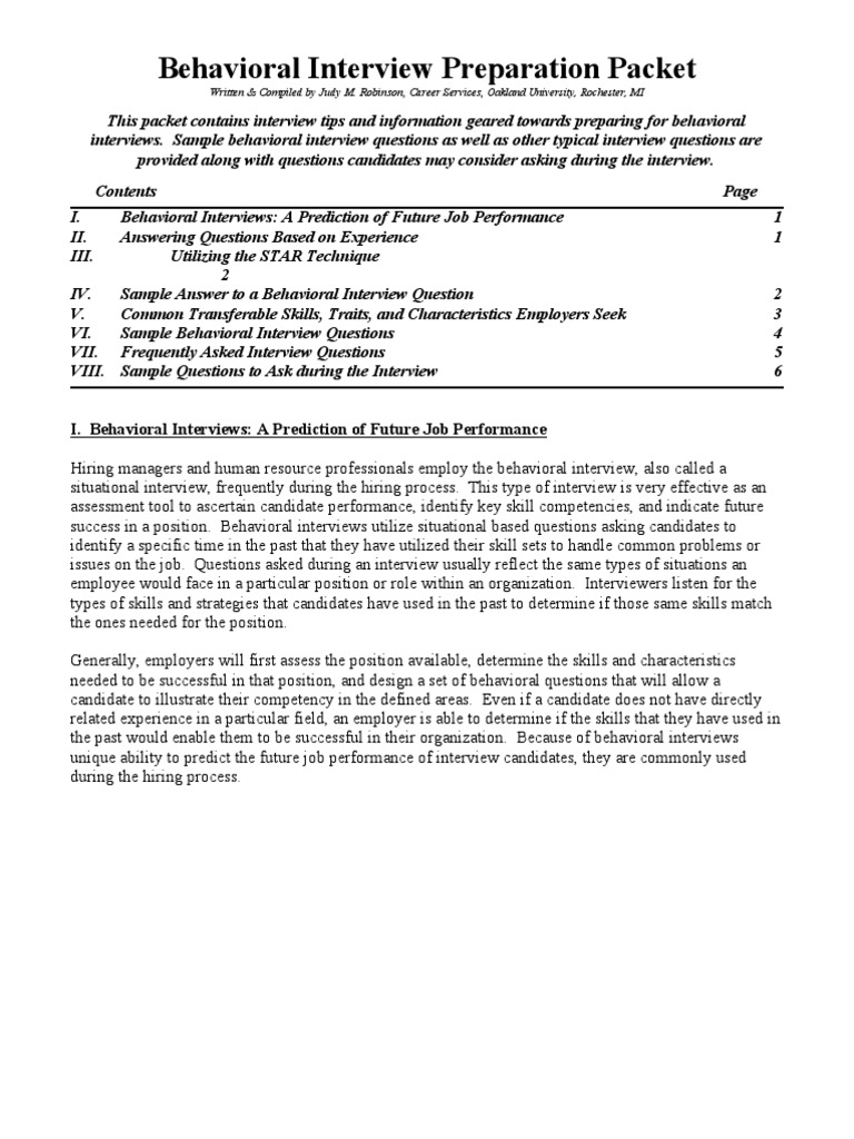 behavioral interview preparation packet competence human