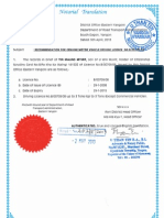 Recommendation for Driving license