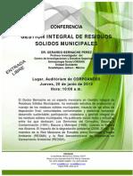 Conferencia Gestion Integral de Residuos Sólidos Municipales. Mérida, 20 de junio de 2013.