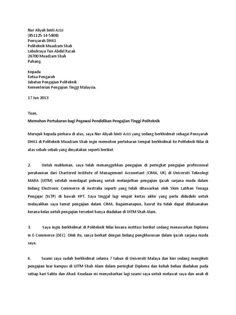 Surat Permohonan Pertukaran Politeknik Viral Blog I