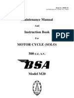 Vintage BSA M20 500 cc motorcycle Maintenance Manual