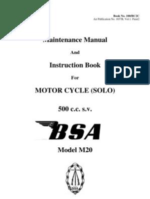Vintage BSA M20 500 cc motorcycle Maintenance Manual | Piston