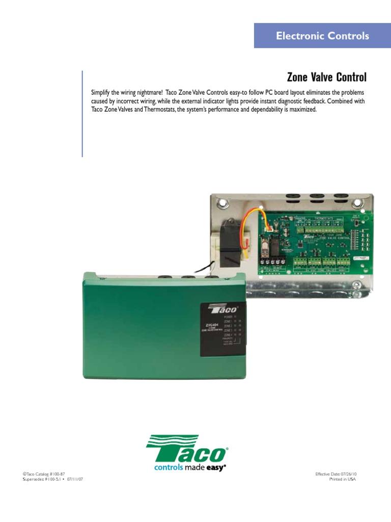 Taco Zvc404 Exp Wiring Diagram Library Zone Valves Enhanced Valve Control 100 87 Thermostat Vacuum Tube