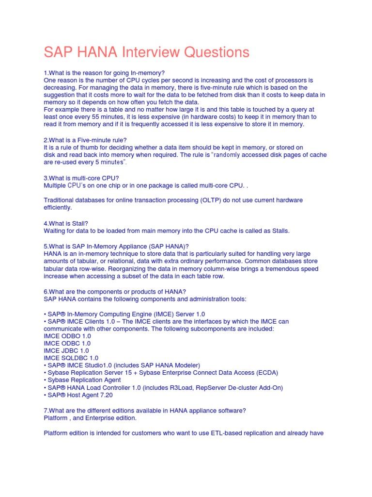 SAP HANA Interview Questions | Sql | Databases
