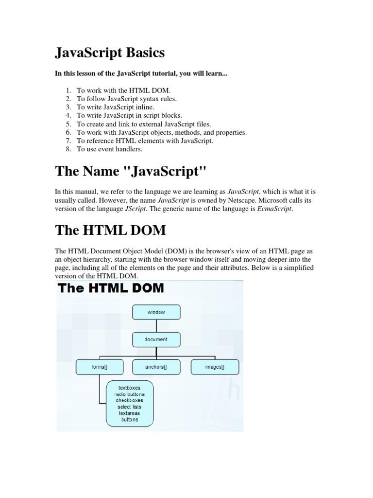 Javascript | Java Script | Html Element